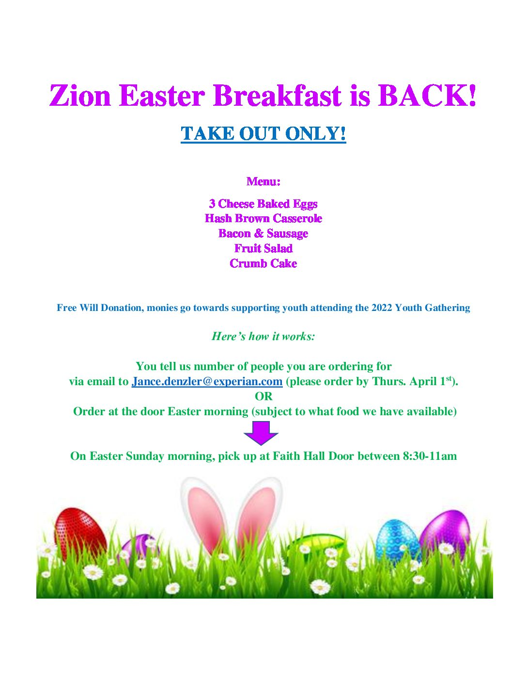 TAKE-OUT EASTER BREAKFAST